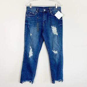 Blank NYC   hi rise distressed boyfriend jeans 28